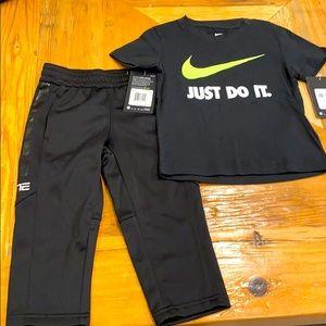 NEW Nike Youth 2pc Pants & Logo Tee Bundle